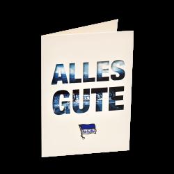 Hertha BSC Berlin Grußkarte - Alles Gute - Geburtstagskarte blau-weiß Glückwunschkarte, Karte - plus Lesezeichen I love Berlin