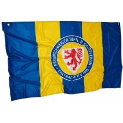 Eintracht Braunschweig Zimmerfahne Streifen, Fahne, Flagge 90 x 140 cm - plus Lesezeichen Wir lieben Fußball
