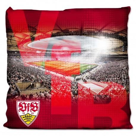 VfB Stuttgart Kissen Stadion, Kuschelkissen rot, Sofakissen, Dekokissen - plus Lesezeichen Wir lieben Fußball