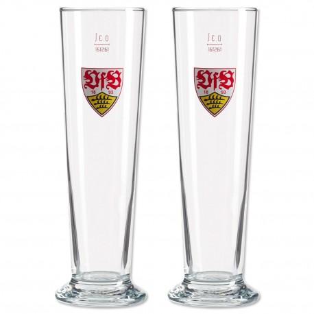 VfB Stuttgart Pilsstange 2er Set, Bierglas, Pilsglas, Glas - plus Lesezeichen Wir lieben Fußball