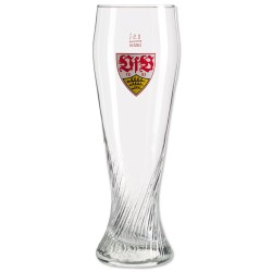 VfB Stuttgart Weizenbierglas Logo, Glas, Bierglas, Weizenglas - plus Lesezeichen Wir lieben Fußball