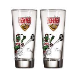 VfB Stuttgart Kinderglas Fritzle, Trinkglas, Glas 2er Set - plus Lesezeichen Wir lieben Fußball