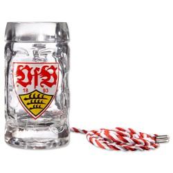VfB Stuttgart Schnapsseidel mit Kordel 2er-Set Schnapsglas Logo, Glas - plus Lesezeichen Wir lieben Fußball