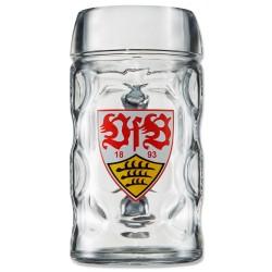 VfB Stuttgart Halbe Maßkrug - Logo - 0,5 l Glas, Bierkrug, Seidel  - plus Lesezeichen Wir lieben Fußball