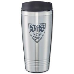 VfB Stuttgart Thermobecher Wappen, Kaffee Becher silber, Tasse, mug, Coffee to go - plus Lesezeichen Wir lieben Fußball