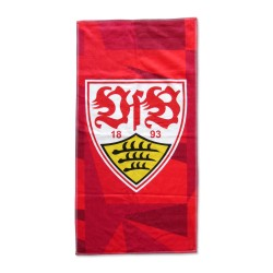 VfB Stuttgart Duschtuch - Wappen - Strandtuch 70 x 140 cm, Badetuch rot  - plus Lesezeichen Wir lieben Fußball