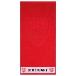 VfB Stuttgart Duschtuch - Wappen hoch tief - Strandtuch 70 x 140 cm, Badetuch rot  - plus Lesezeichen Wir lieben Fußball