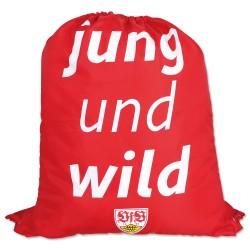 VfB Stuttgart Turnbeutel - jung und wild - Sportbeutel, gym bag, Rucksack - plus Lesezeichen Wir lieben Fußball