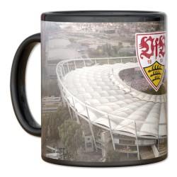 VfB Stuttgart Tasse Magic, magic mug, Becher, Kaffeepott  - plus Lesezeichen Wir lieben Fußball