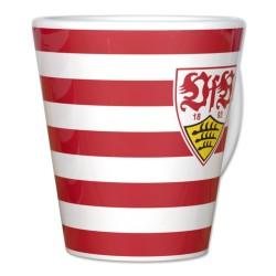 VfB Stuttgart Tasse Streifen , Kaffeetasse, Pott, coffee cup - plus Lesezeichen Wir lieben Fußball