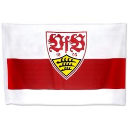 VfB Stuttgart Schwenkfahne, Flagge 120 x 80 cm, Fahne, Banner  - plus Lesezeichen Wir lieben Fußball