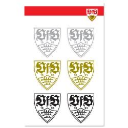 VfB Stuttgart Aufkleberbogen 6er Set, Aufkleber silber gold schwarz, Logo Sticker - plus Lesezeichen Wir lieben Fußball