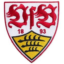VfB Stuttgart Aufnäher Logo 8x9 cm, Patch, Aufbügler - plus Lesezeichen Wir lieben Fußball