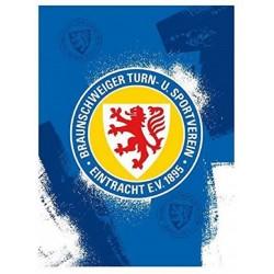 Eintracht Braunschweig Fleecedecke - Grunge-  Kuscheldecke 150 x 200 cm, Sofadecke BTSV - plus Lesezeichen Wir lieben Fußball