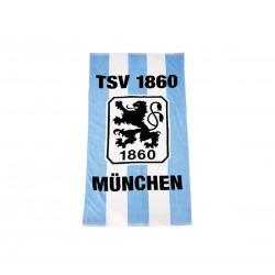 TSV 1860 München Velourstuch - Stripes -  Strandtuch, Badetuch, Duschtuch 75 x 150 cm plus Lesezeichen Wir lieben Fußball