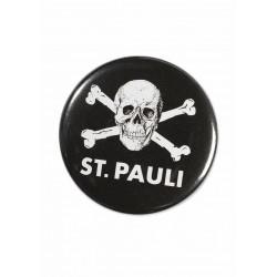 FC St. Pauli Button - Totenkopf - Anstecker, Pin - plus Aufkleber Fans gegen Rechts