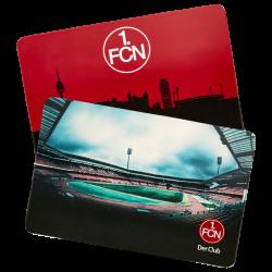 1. FC Nürnberg Frühstücksbrett - Stadion/Skyline - 2er Set, Schneidebrett FCN - plus Lesezeichen Wir lieben Fußball