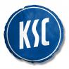 Karlsruher SC Nickikissen - Logo - Kuschelkissen rund, Dekokissen, Kissen KSC - plus Lesezeichen Wir lieben Fußball