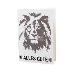 TSV 1860 München Grußkarte - Alles Gute - Geburtstagskarte Löwe, Glückwunschkarte, Karte - plus Lesezeichen Wir lieben Fußball