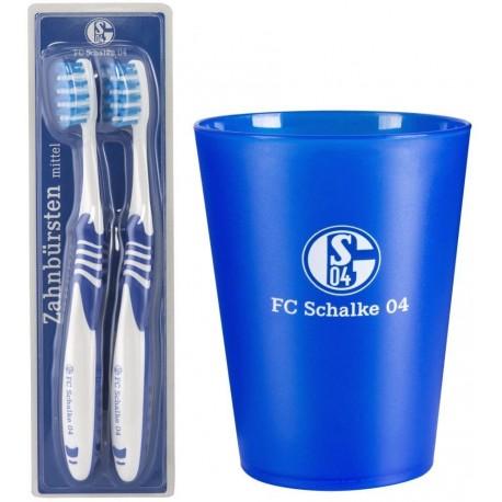 2 x Zahnbürste + Zahnputzbecher FC Schalke 04 Zahnpflege-Set Zahnputz-Set S0