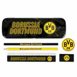 Borussia Dortmund Schreibset schwarz, 6-teilig mit Metallbox, Schulset BVB 09