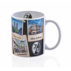 SC Freiburg Tasse - Sehenswürdigkeiten - Kaffeetasse, Kaffeepott, mug Plus Lesezeichen Wir lieben Fußball