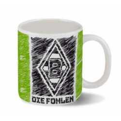 Borussia Mönchengladbach Tasse - Scribble - Kaffeetasse Becher BMG - Plus Lesezeichen I love Mönchengladbach