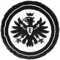 Eintracht Frankfurt Plüsch Kissen Logo rund schwarz, Kuschelkissen, Dekokissen SGE  - plus Lesezeichen I love Frankfurt