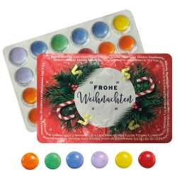 Kleinster Adventskalender der Welt - Kranz Frohe Weihnachten - Schokolinsen - Bei Kauf von 3 Kalendern gibt's den 4. gratis