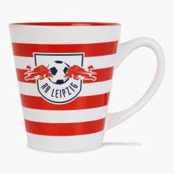 RB Leipzig Tasse Ringel Streifen  rot-weiß, Kaffeebecher, Kaffeetasse, Striped Mug RBL - plus Lesezeichen Wir lieben Fußball