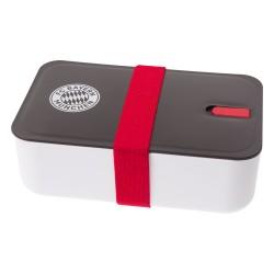 """FC Bayern München Brotdose, Lunchbox, Frühstücksbox, Vorratsdose weiß/schwarz - plus gratis Lesezeichen """"I Love München"""""""