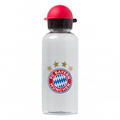 """FC Bayern München Trinkflasche, Flasche, Bottle - transparent 0,6 l FCB - plus gratis Lesezeichen """"I Love München"""""""