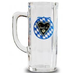 Oktoberfest O'zapft is! Bierkrug, Krug, Bier Seidel Glas Brauns weiß-blau 0,5 l