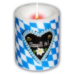 Oktoberfest O'zapft is! Windlichtkerze, Kerze, Motivkerze Brauns weiß-blau