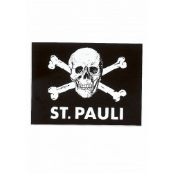 FC St. Pauli Aufkleber, Autoaufkleber, Sticker Totenkopf schwarz - Plus gratis Aufkleber Fans gegen Rechts