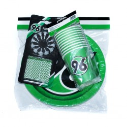 "Hannover 96 Party-Set: Kerzen, Teller, Becher 56-teiliges Set H96 - plus gratis Lesezeichen ""I love Hannover"""