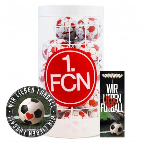1. FC Nürnberg Schokokugeln, Schokofussbälle, Schokoladen Kugeln Plus je 1 x gratis Aufkleber &  Lesezeichen Wir lieben Fussball