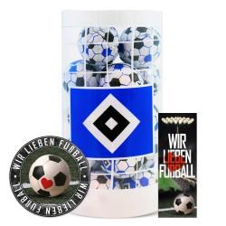 Hamburger SV Schokokugeln, Schokofussbälle, Schokoladen Kugeln Plus je 1 x gratis Aufkleber &  Lesezeichen Wir lieben Fussball