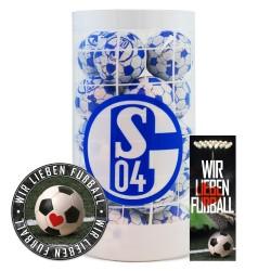 FC Schalke 04 Schokokugeln, Schokofussbälle, Schokoladen Kugeln Plus je 1 x gratis Aufkleber &  Lesezeichen Wir lieben Fussball