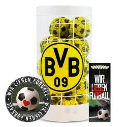 Borussia Dortmund Schokokugeln, Schokofussbälle, Schokoladen Kugeln BVB 09 Plus je 1 x gratis Aufkleber &  Lesezeichen
