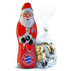 FC Bayern München Schokoladen Weihnachtsmann, Schoko Nikolaus (150 g) FCB Plus gratis Fussball-Schokoladenmischung (150g)