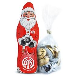 1. FSV Mainz 05 Schokoladen Weihnachtsmann, Schoko Nikolaus (150 g) Plus gratis Fussball-Schokoladenmischung (150g)