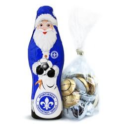 SV Darmstadt 98 Schokoladen Weihnachtsmann, Schoko Nikolaus (150 g) Plus gratis Fussball-Schokoladenmischung (150g)