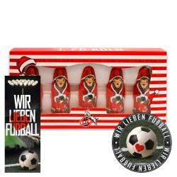 1. FC Köln Schoko Mini Weihnachtsmann (5 Stk.) Plus gratis je 1 x Aufkleber + 1 x Lesezeichen Wir lieben Fußball