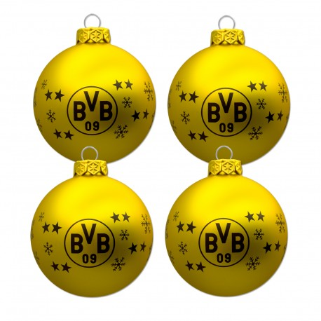 Bvb Weihnachtsbaum.Borussia Dortmund Christbaumkugeln Weihnachtskugeln 4er Set Bvb 09 Plus Lesezeichen I Love Dortmund New Fancorner