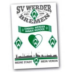 """SV Werder Bremen Aufkleber, Sticker, Aufkleberkarte 6-teilig """"Einmal Werder Immer Werder""""-Plus Gratis Lesezeichen I Love Bremen"""