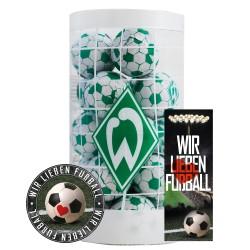 SV Werder Bremen Schokokugeln, Schokofussbälle, Schokoladen Kugeln Plus je 1 x gratis Aufkleber &  Lesezeichen