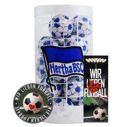 Hertha BSC Berlin Schokokugeln, Schokofussbälle, Schokoladen Kugeln Plus je 1 x gratis Aufkleber &  Lesezeichen
