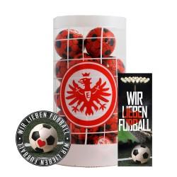 Eintracht Frankfurt Schokokugeln, Schokofussbälle, Schokoladen Kugeln SGE Plus je 1 x Aufkleber & Lesezeichen