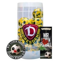 SG Dynamo Dresden Schokokugeln, Schokofussbälle, Schokoladen Kugeln SGD Plus je 1 x gratis Aufkleber &  Lesezeichen